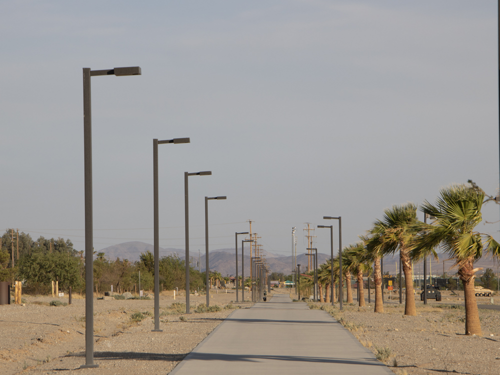 Desert pathway with solar luminaires