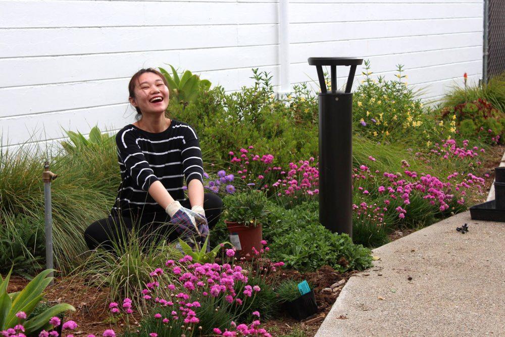 woman gardening beside solar bollard - First Light Technologies