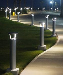 Solar Bollards at night - First Light Technologies