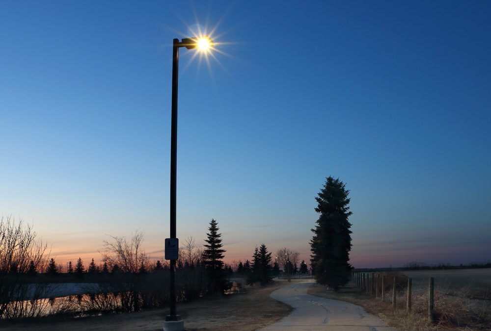 Solar Lighting Park Pathway In Northern Alberta Town