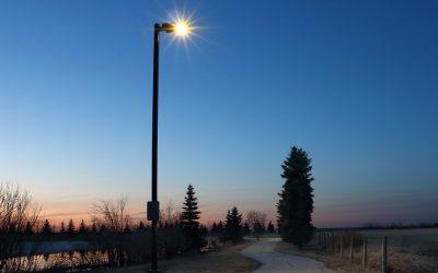 Solar Lighting Park Pathway In Northern Alberta Town
