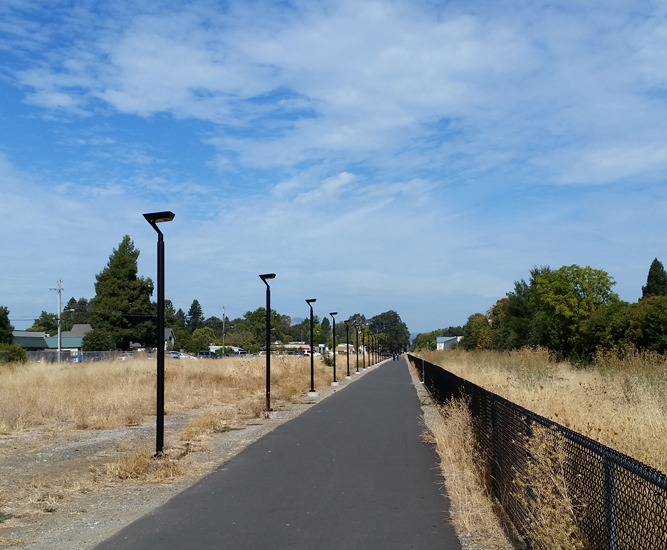 Architectural solar pathway lighting with IPL luminaires
