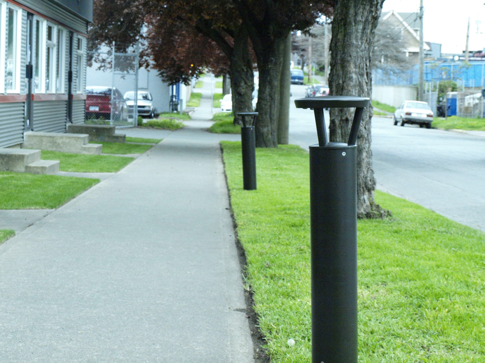 Parking lot with First Light's WLB solar powered bollard