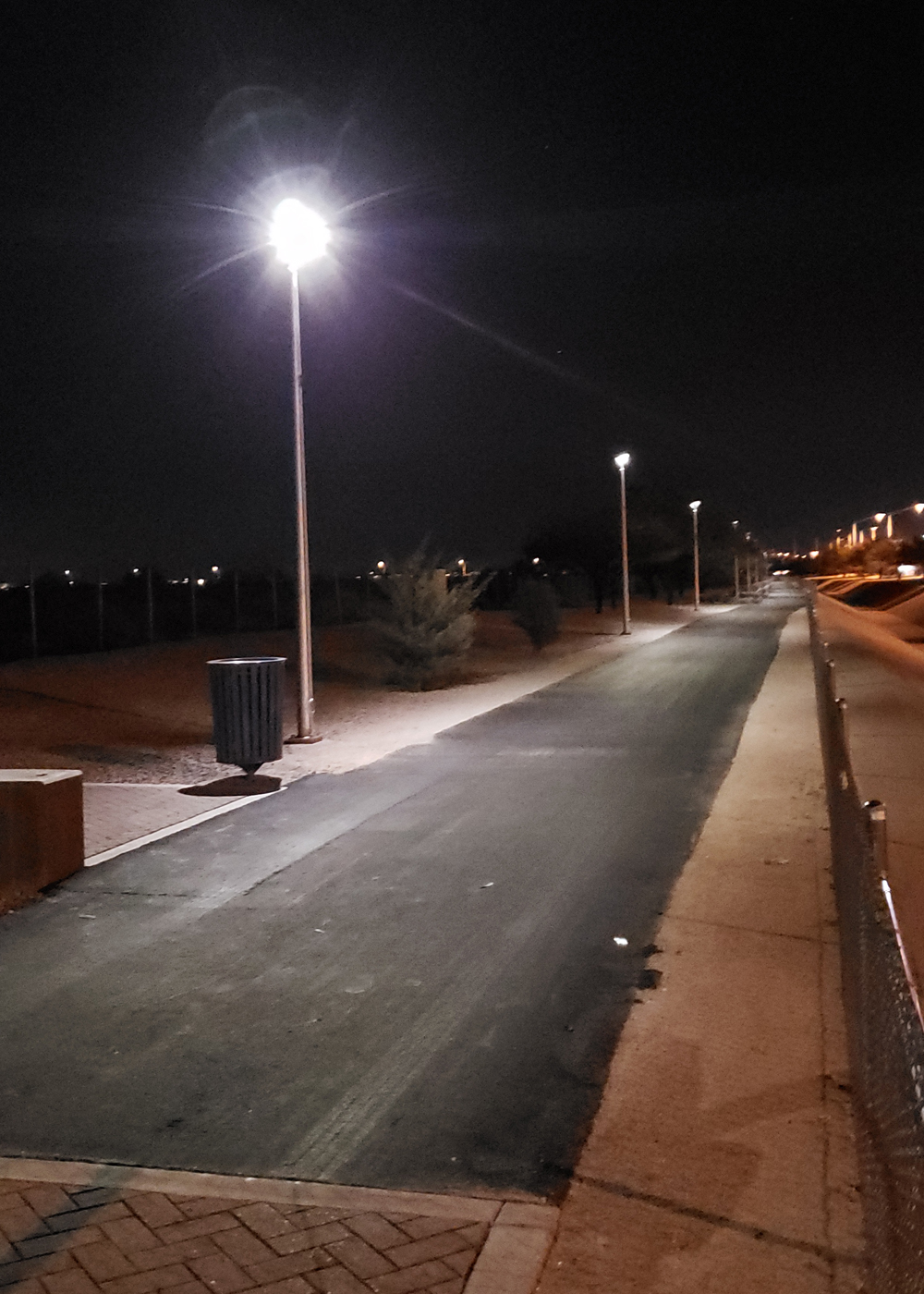 Shared use pathway illuminated by solar powered lights.