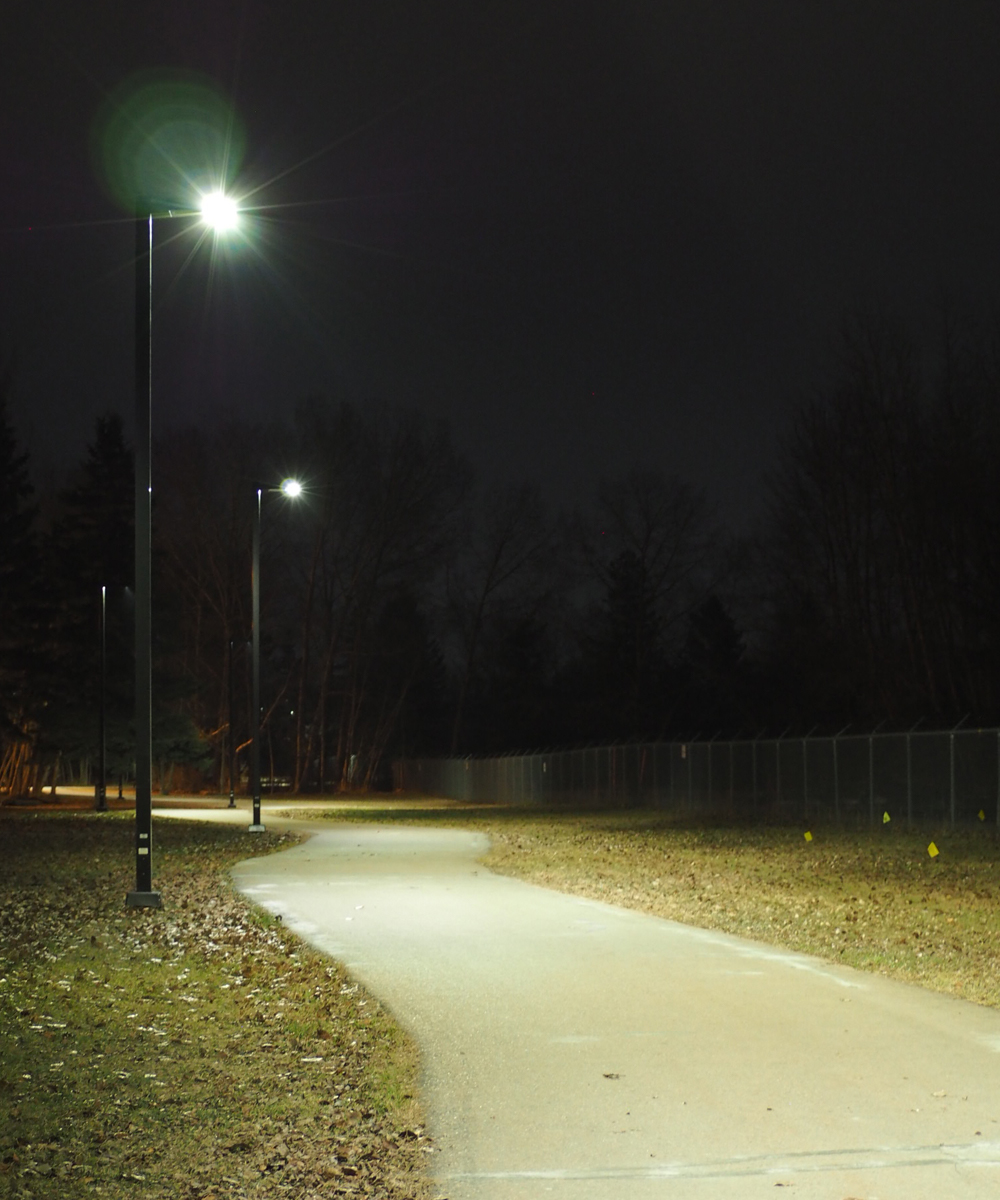 Architectural solar lights at night