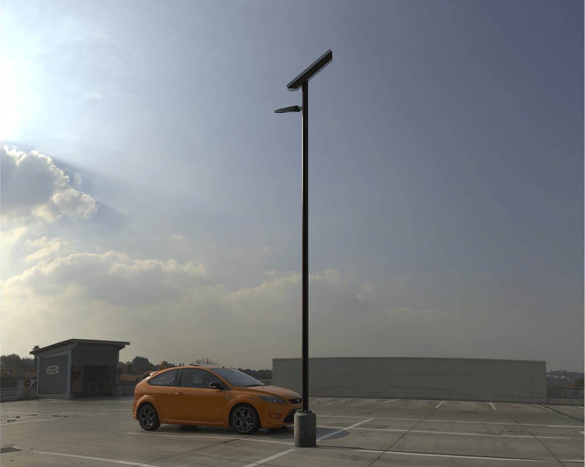 Parking lot lighting provided with First Light's SCL2 solar luminaire